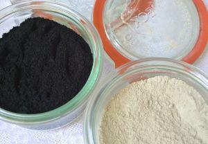 Charcoal and bentonite clay.