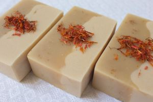 Charcoal and Safflower Petal Yogurt Soaps