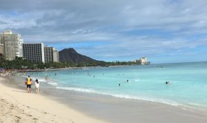 Waikiki Beach, just a few minutes walk from our hotel, The Modern Honolulu