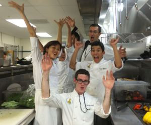Having a light moment in the kitchen of The Modern Honolulu with students from the Kapi'olani Community College. That's me on the far left. Marco Anzani is the really tall Italian.