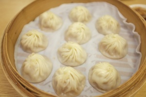 "Din Tai Fung's famous xiao long bao (steamed pork dumplings with ""soup"" inside)"
