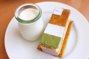 Vanilla panna cotta and green tea millefeuille