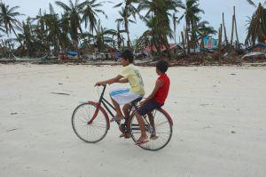 Biking around the beach.