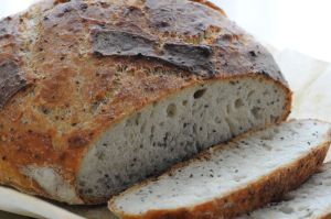 Chia Bread, baked in cast iron dutch oven