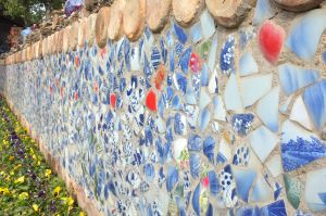 Wall of antique ceramic shards