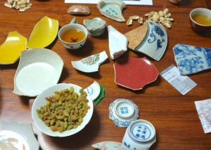 Tea and Antique Porcelain Shards at Prof. May Huang's house