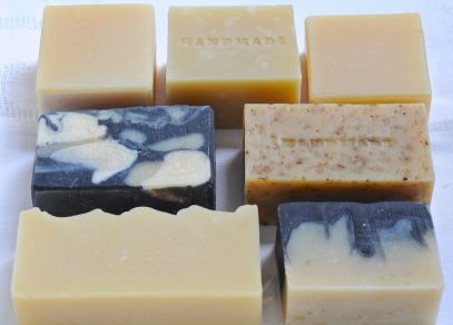 "Top (L-R): Gregory Lee White's Basic Soap, Aloe Vera, Anne Watson's Basic Soap Middle: ""Ambitious"" Soap, Beer and Egg  Bottom: Green Velvet, Charcoal & Oatmeal"